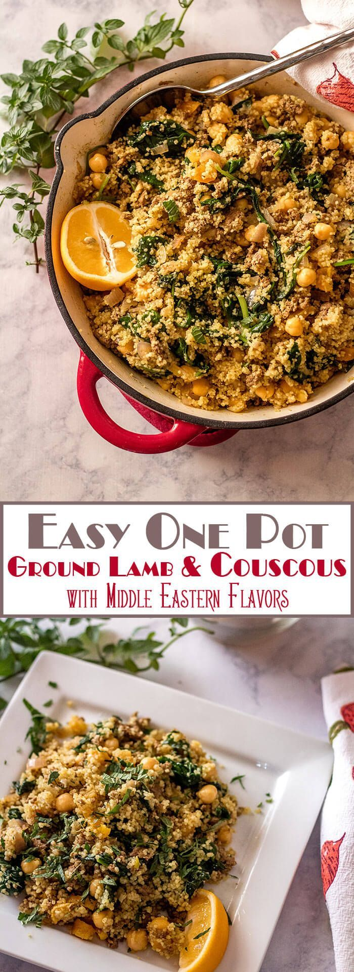 Fragrant Easy One Pot Ground Lamb and Couscous combines Middle Eastern spices with dried fruit, spinach, and chick peas in the ultimate quick and healthy one-pot meal! Middle Eastern | Lamb and Couscous | Minced Lamb | Easy One Pot Meals | Quick Dinners | Ground Lamb via @TamaraBMS
