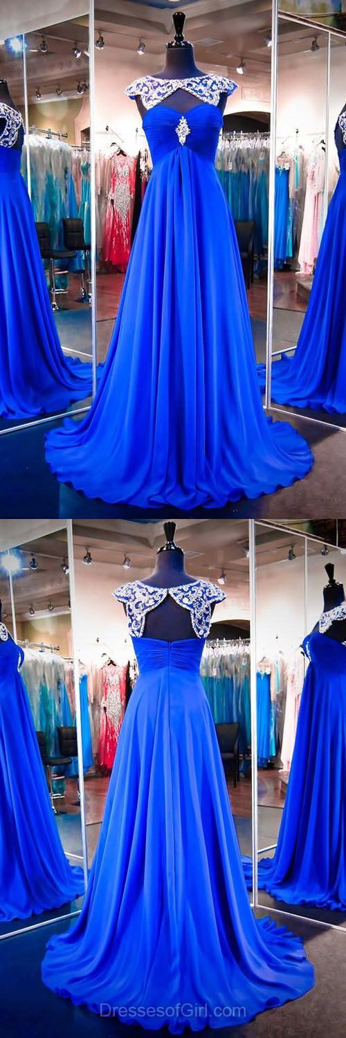 Royal Blue Prom Dresses, Long Formal Dresses, Scoop Neck Party Gowns, Chiffon Evening Dress, Modest Women Dresses