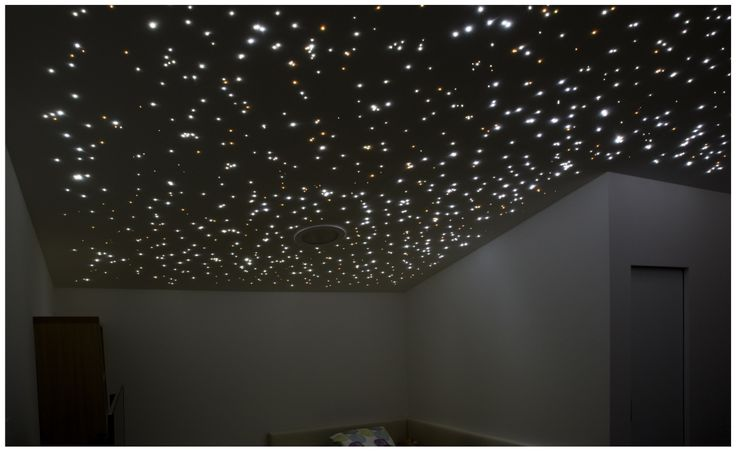 Starry sky made of end-light fiber optics. Private residence, Šaľa, Slovakia
