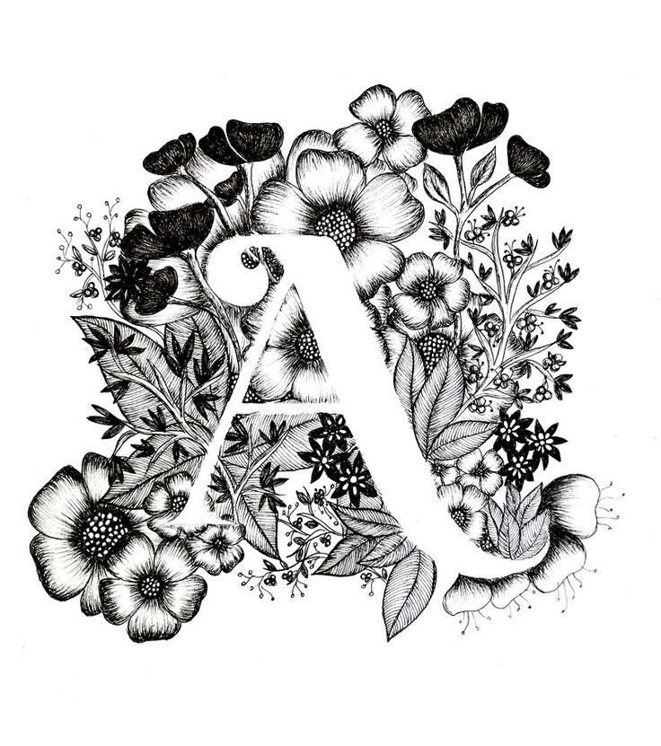 Una impresión alfabeto caligrafía tipografía por archsehgal