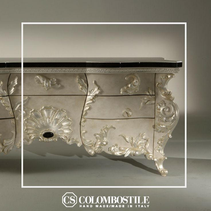 """Art.3704CSI Collezione: Pompadour Design: Giovanni Malerba di Busca Chest of Drawers Wooden structure. Sculptures in solid wood. Finish: plaster lacquer and pure patinated silver mecca. Carvalho """"black"""" wooden top."""