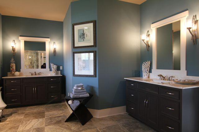 love this color scheme - very similar to our bedroom - the dark wood looks so good!