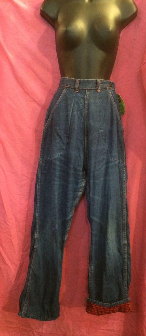 Ladies 50s Vintage SIDE Zip FLANNEL Lined JEANS by sneakytiki
