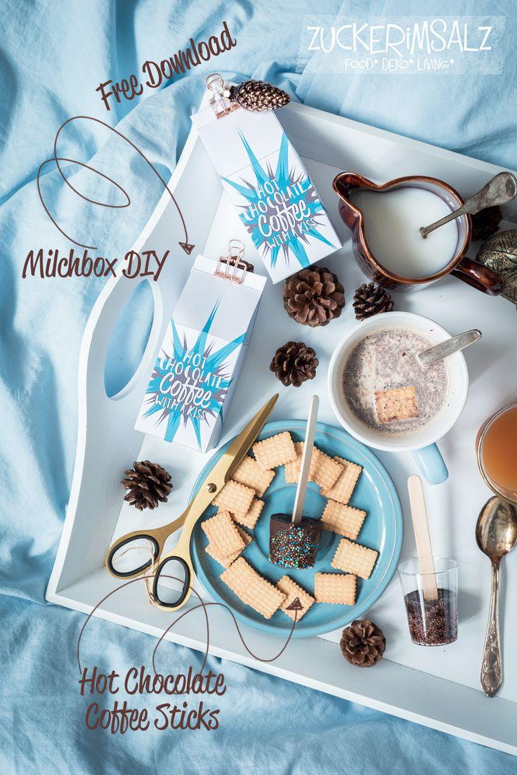 Heißes Bettgeflüster mit Hot Chocolate Coffee Sticks und dazu noch vollkommen für free ein zackisch schnelles Milchbox DIY … denn heute wird wieder schnell gebastelt … Heißes genascht &…