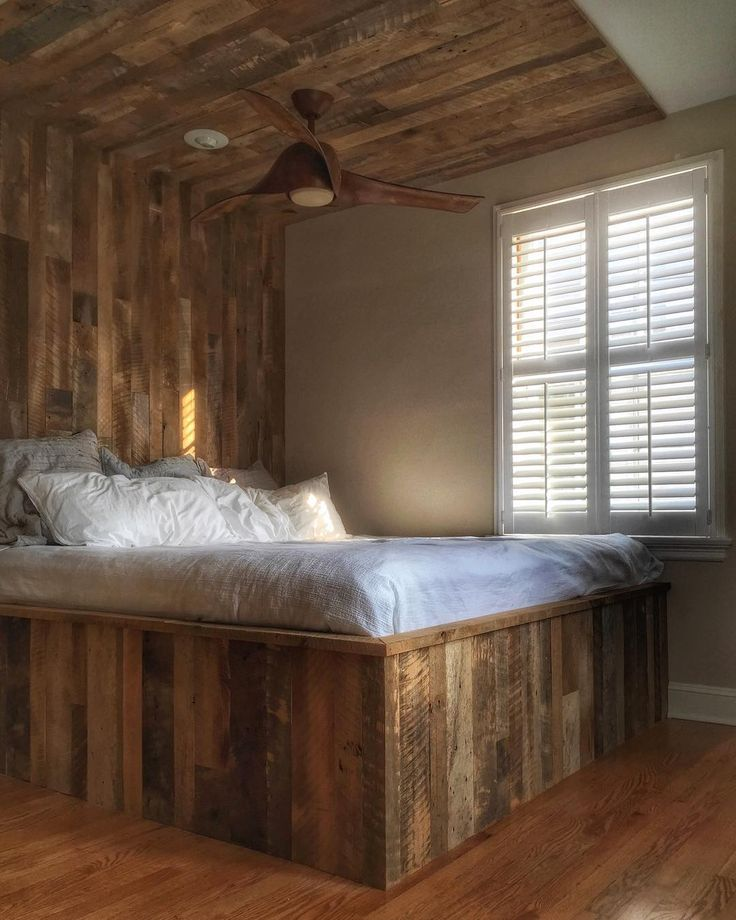 reclaimed wood bed skirt and headboard