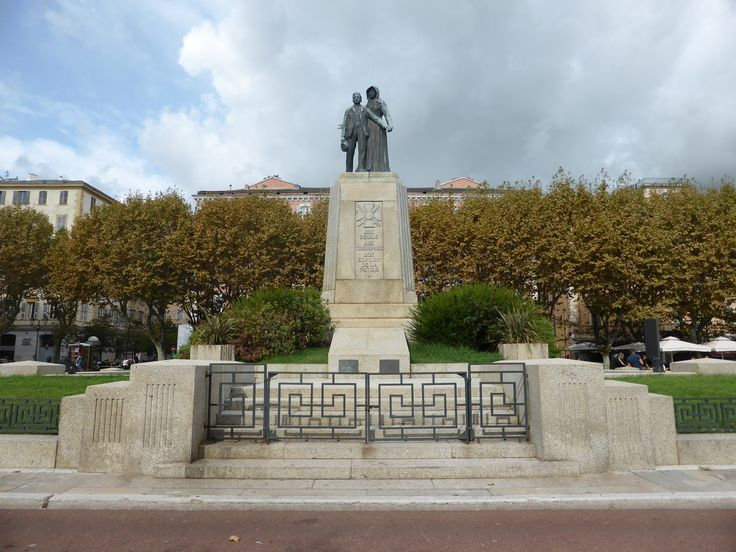 Bastia, statue to mourning war dead mother and son Place St. Nicholas