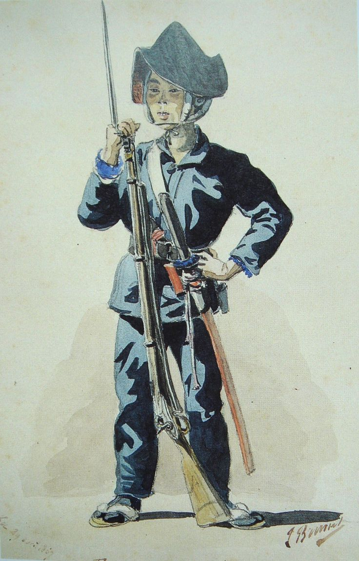 """""""Ootsuka Tsukataroo"""" Japanese Bakufu Infantryman, April 29, 1867. Painted by French army Captain and soldier of fortune Jules Brunet (Tom Cruise's character in The Last Samurai was loosely based. on Brunet) who would later take very active role in the Boshin War before returning to the service of Napoleon III to fight in the Franco-Prussian War. (via http://laststandonzombieisland.com/2014/08/26/japanese-bakufu-infantryman/ )"""