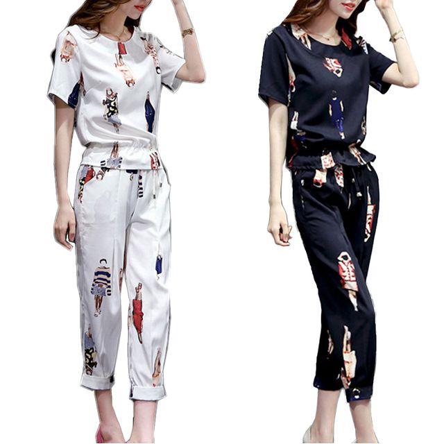 2017 весна лето женщины устанавливает печатный топы + брюки мода из двух частей набор женской одежды высокого качества для женщин Спортивные Костюмы костюмы