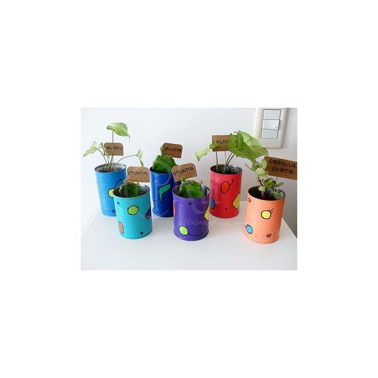 Plantitas en latas reutilizadas como macetas  Pintadas con acrílicos y barnizadas en su exterior. #EcoChii #reutilizar #reciclar