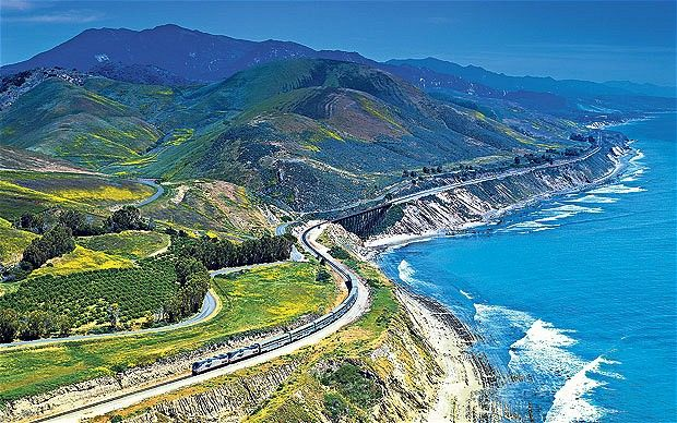 Coast Starlight: Seattle to Los Angeles by train. I was spellbound with this leg of our journey (EB)