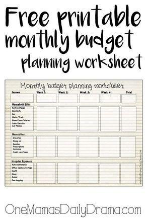 Free printable monthly budget worksheet FREE PLANNER PRINTABLES