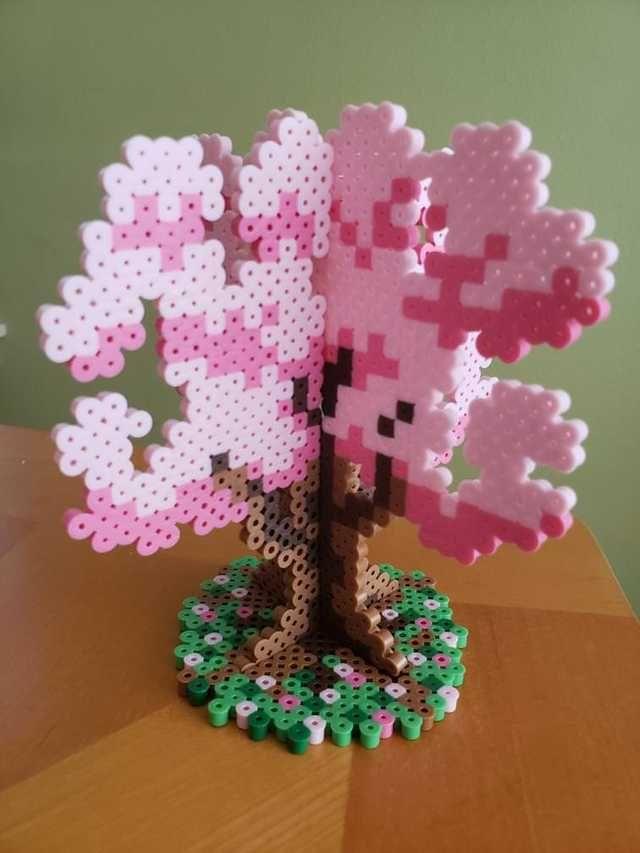 Cherry Blossom Tree With Stand My First 3d Piece Imgur Hama Beads Design Perler Bead Templates Perler Crafts