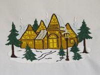 Дизайн машинной вышивки зимний дом
