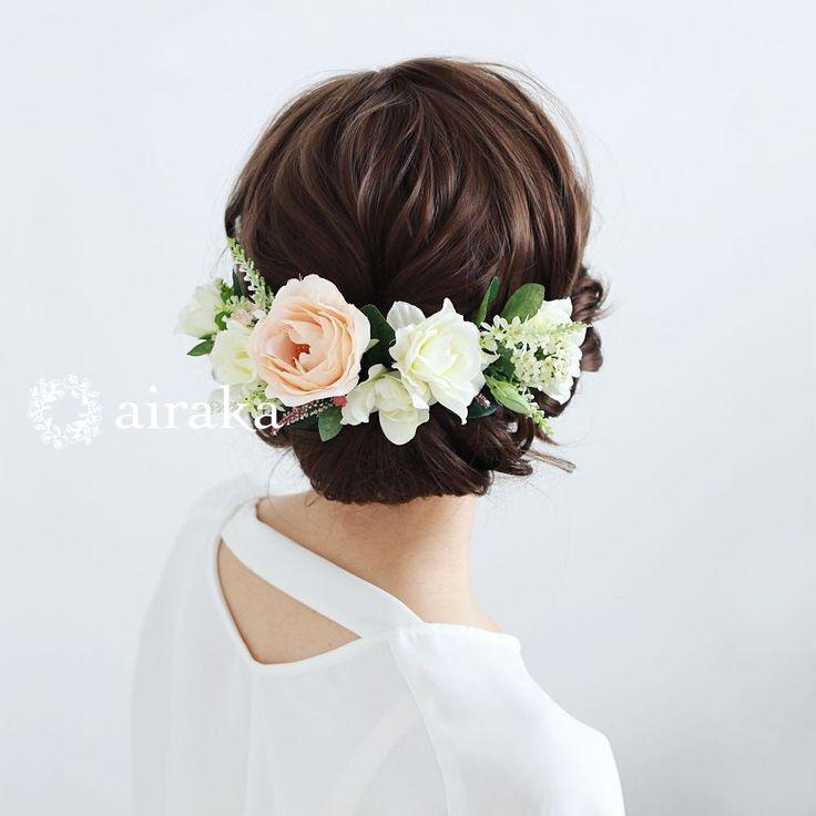 あわいブラッシュピンクのバラに、たおやかな花顔のクチナシをあしらった髪飾り。バラ クチナシ 髪飾り4点セット/アーティフィシャルフラワー(造花)