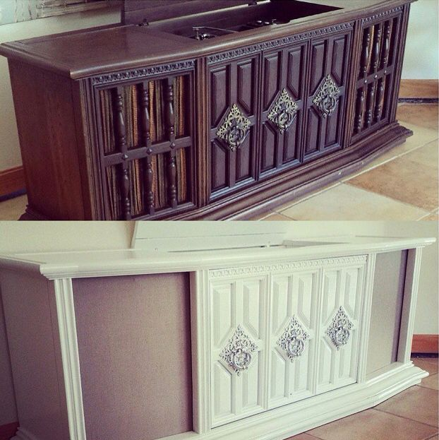 Before and after, refinished furniture, DIY, vintage record player, console, 1970's RCA radio