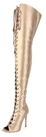 Gianvito Rossi Satin Lace-Up 105mm Over-the-Knee Boot, Beige