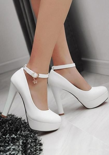 18a2495c4e5 White Round Toe Chunky Buckle Fashion High-Heeled Shoes in 2019 ...