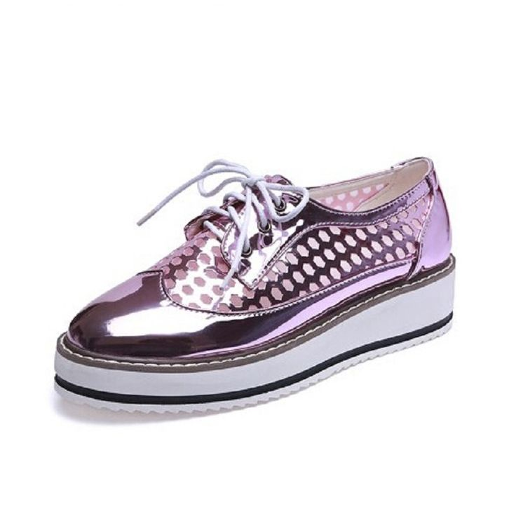 Summer Gauze Hollow Platform Oxford Shoes For Woman Pink Silver Creepers Bling Flats Lace-Up Casual Women Brogue Shoes 3 Colors