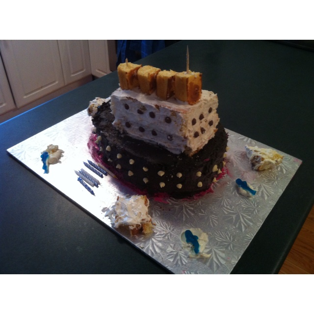 My wife made a Titanic themed cake, from scratch, for my daughter's 6th birthday. Total cost? Under $10. Amazing!!