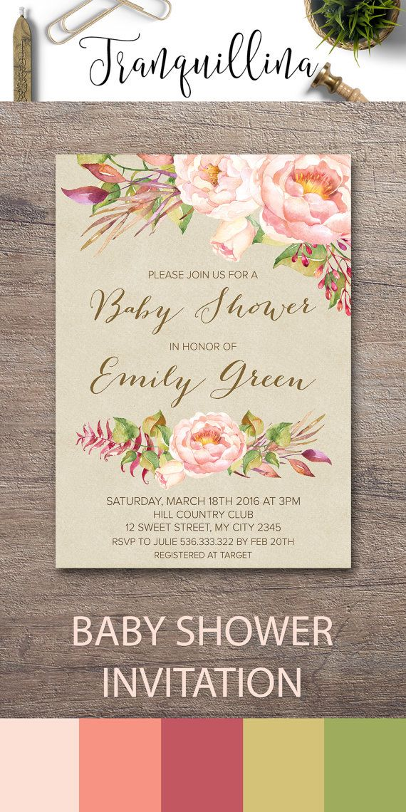 Bohemian Baby Shower Invitation Printable, Floral Baby Shower Invitations,  Boho Baby Shower Invitation,