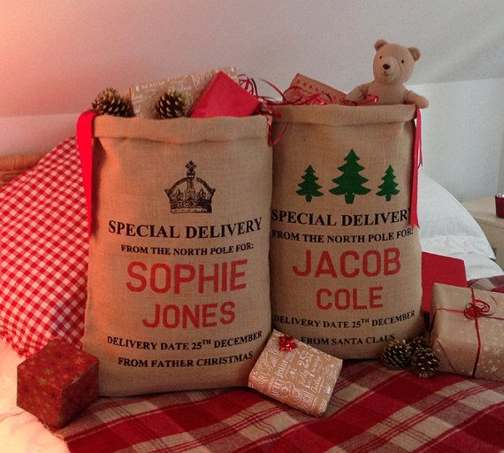 Personalised Christmas Stocking Christmas Sack by silverbobbin