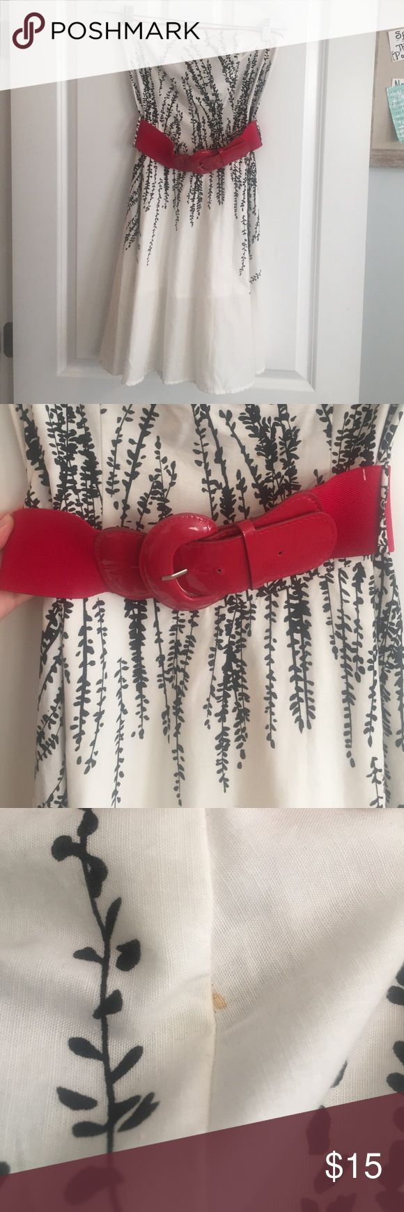 Black and white dress with cute red belt Fits so well and looks super cute with red shoes! Teeze Me Dresses Mini