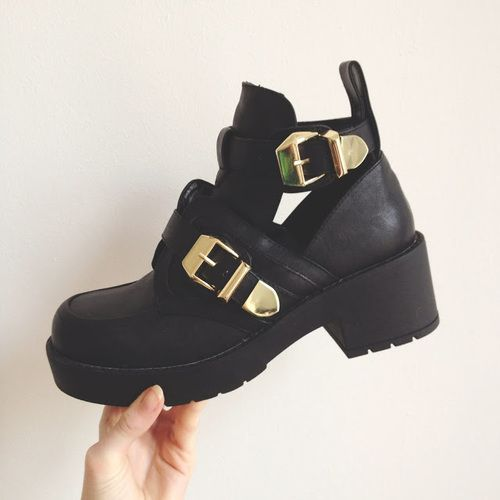I'm a sucker for chunky black boots  cant believe i actually own these now ♡
