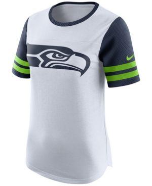 Nike Women's Seattle Seahawks Gear Up Fan Top T-Shirt - White M
