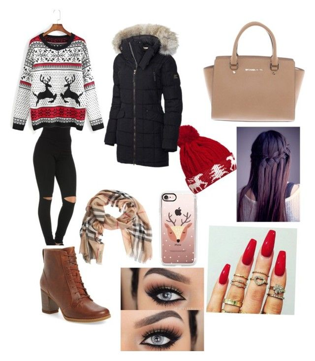 """""""Christmas ootd"""" by jaraujo3 on Polyvore featuring Timberland, Michael Kors, Casetify, WithChic, SOREL and Burberry"""