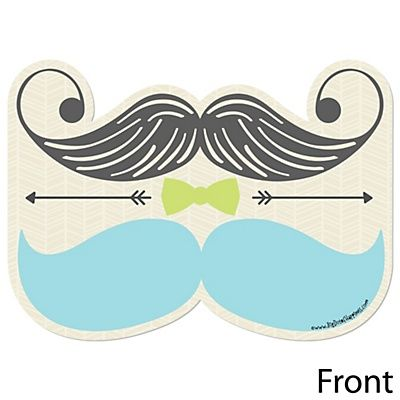 Dashing Little Man Mustache Party - Shaped Baby Shower Invitations | BigDotOfHappiness.com