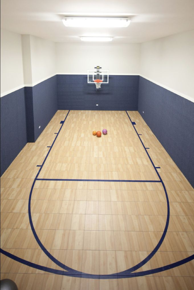 Elegant Great Indoor Basketball Court With Blue Grasscloth Wallpaper And Gray Walls  Paint Color. Images