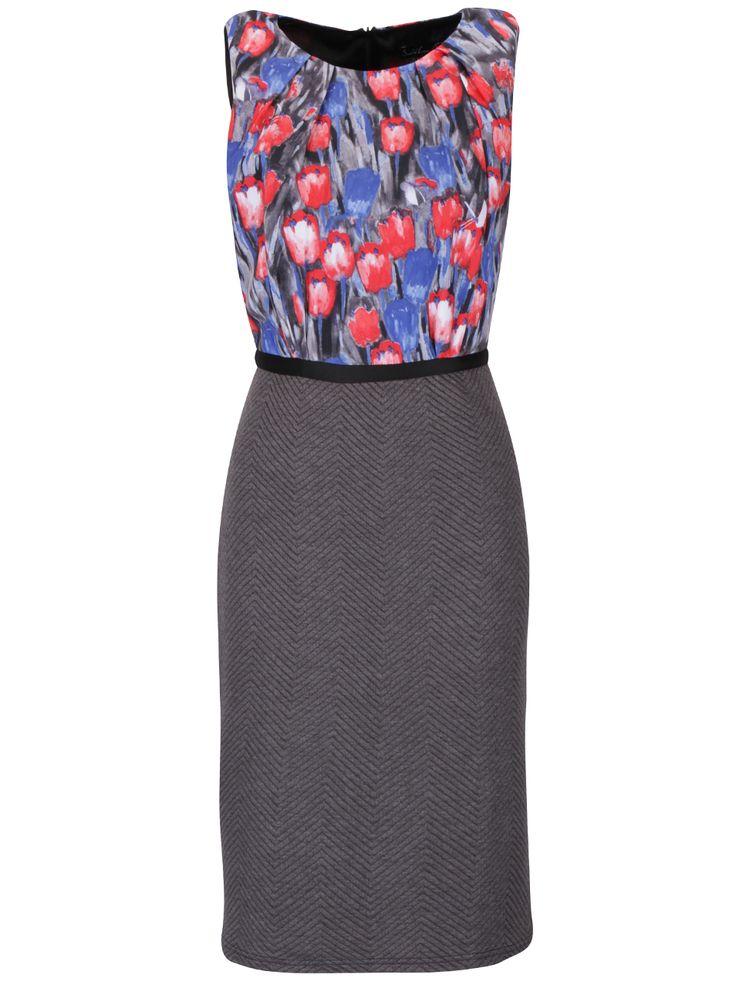 Červeno-šedé květované šaty Smashed Lemon
