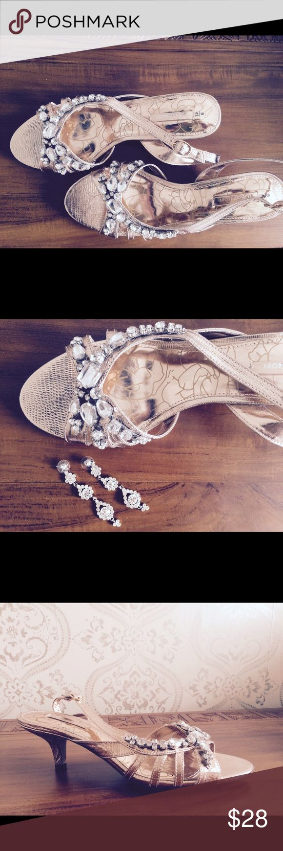 NWT. Rose gold evening shoes with diamontes Rose gold shoes from British label Next. Great for a special evening out where you want your shoes to make an impact! Not worn and new with labels. Next Shoes Heels