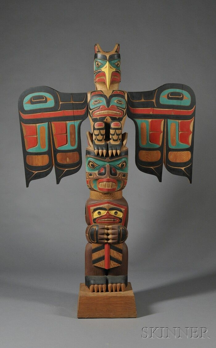 Northwest Coast Polychrome Carved Totem Pole by Tony Hunt.  Born 1942