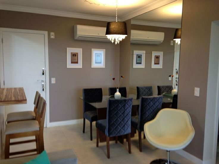 Dining room, table, chair, barstool, wall, mirror, chandelier