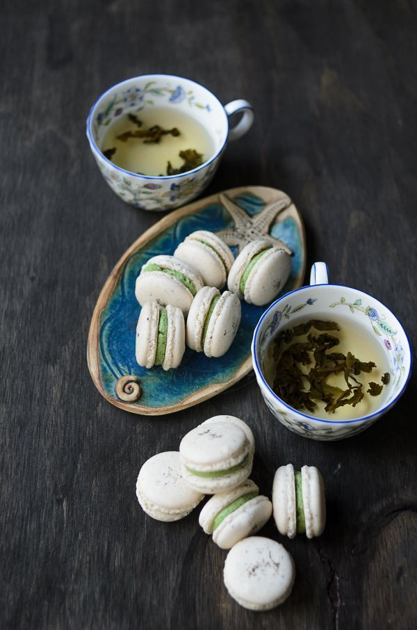 Delicious little Jasmine green tea infused macarons