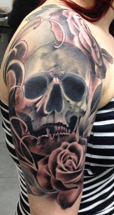 29 best realistic skull and rose half sleeve tattoo images on pinterest arm tattoos skull. Black Bedroom Furniture Sets. Home Design Ideas