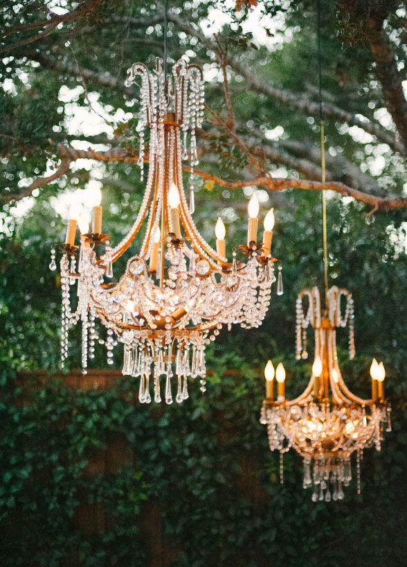 Beautiful crystal chandeliers dressed up this outdoor garden wedding. Wedding Decorations, Wedding Flowers, Garden Weddings