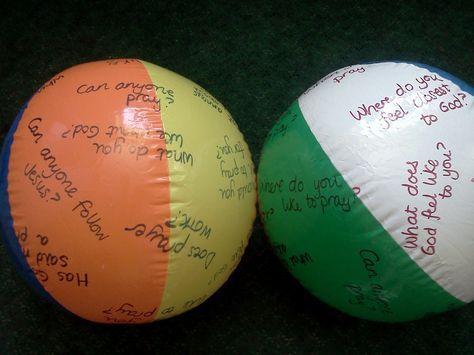 Ice Breaker Ideas   Flame: Creative Children's Ministry: Reflection question beach balls