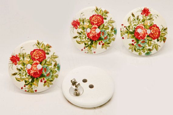 SALE! Extra Large White and Red Vintage Floral Rose Button Earrings.