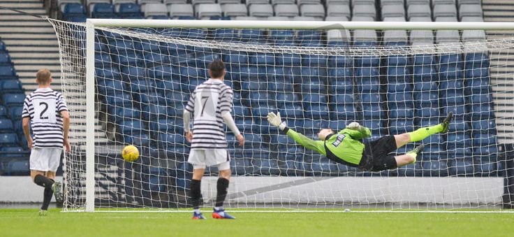 Queen's Park's keeper Andy Murphy can't reach the ball during the Betfred Cup game between Queen's Park and Airdrieonians.