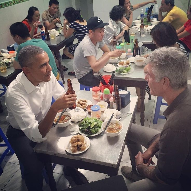 """Bún Chả: Hanoi kebab rice noodles On the new episode of """"Parts Unknown,"""" President Obama joins Anthony Bourdain in Hanoi for a crash course in Vietnamese dining. They drank Hanoi Beers and ate 'bun cha'. This restaurant has become famous and attracts many guests."""