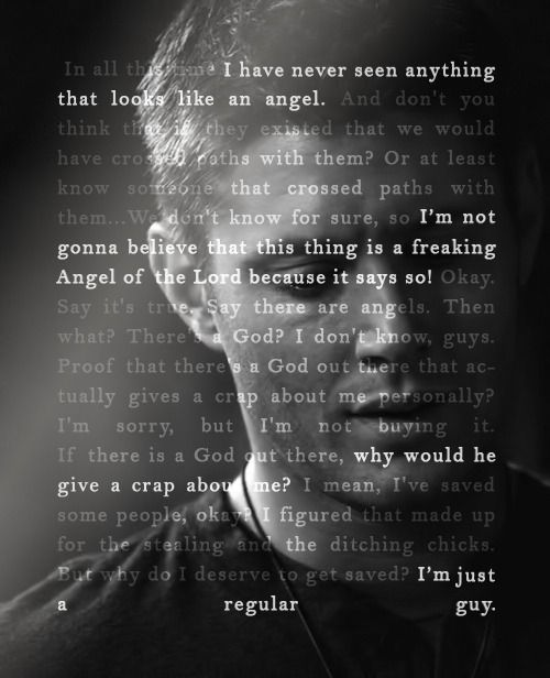 """4x02 Are You There, God? It's Me, Dean Winchester - """"I don't like getting singled out at birthday parties, much less by… God."""" (by 67chevy.co.vu) - Supernatural"""