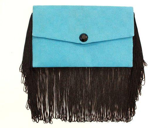 Light blue handmade envelope purse with black fringes