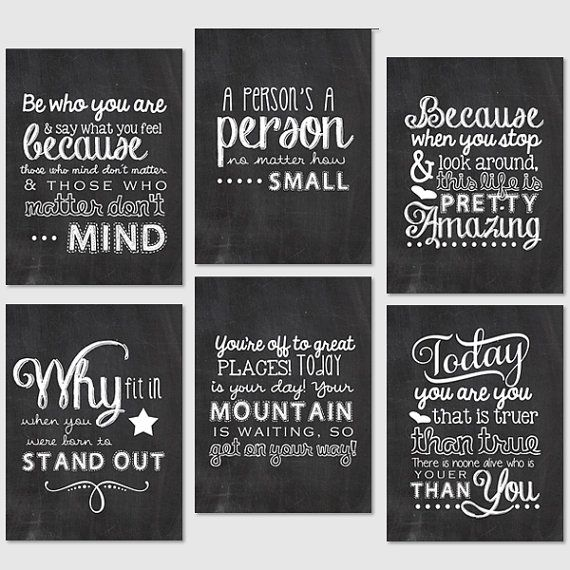 Project Life Printables - 3x4 Journaling Cards - Chalkboard Dr. Suess Quotes via Etsy