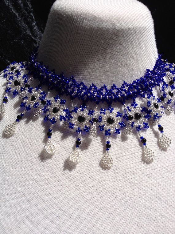 Night Wish Collar Onyx and Seed Beads by ZarasZeal on Etsy