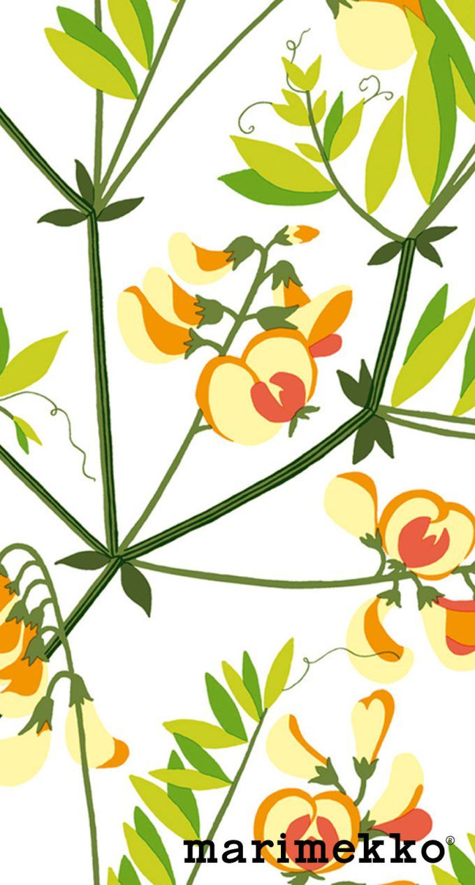 マリメッコ/花柄5 iPhone壁紙 Wallpaper Backgrounds iPhone6/6S and Plus  Marimekko Floral Pattern iPhone Wallpaper