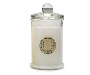 Small Soy Wax Candle By Warratina Lavender Farm. Soy wax Candle in attracive clear glass blottle with lid. Non polluting. Will burn for up to 30hours