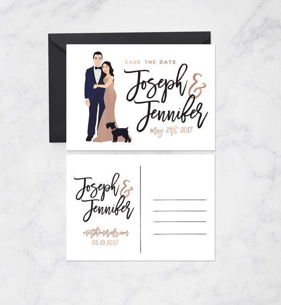 Save the Date Karten für moderne Hochzeit von MissDesignBerryInc