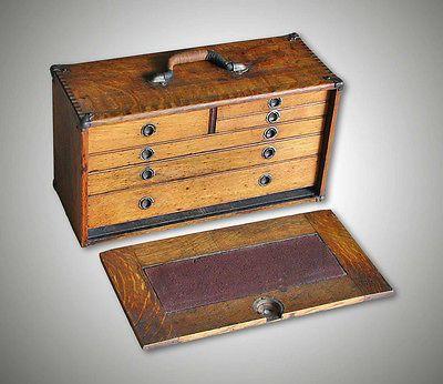 Antique Tiger Oak 6 Drawer Machinist Tool Box Chest C.1920